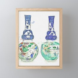 A PAIR OF UNDERGLAZE-BLUE AND FAMILLE-VERTE DOUBLE-GOURD VASES QING DYNASTY, KANGXI PERIOD watercolo Framed Mini Art Print