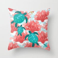 Sea Turtles in The Coral - Ocean Beach Marine Throw Pillow