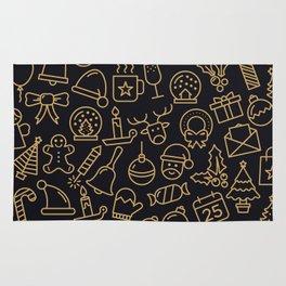 Lovely Golden Christmas Stuffs Pattern Rug