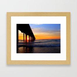 Scripps Pier - Sunset Splash Framed Art Print