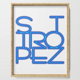 St. Tropez in blue neon Serving Tray