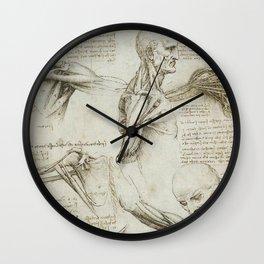 Leonardo Da Vinci human body sketches Wall Clock