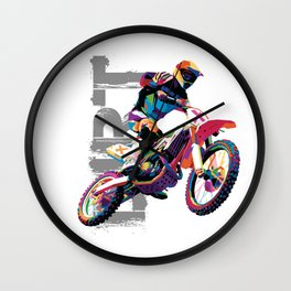 Motocross WPAP Wall Clock