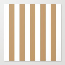 Wood brown - solid color - white vertical lines pattern Canvas Print