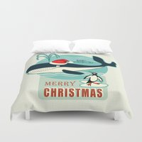 50s Duvet Covers featuring Where is Santa Claus? (background) by Chicca Besso