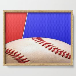 Baseball Sports on Blue and Red Serving Tray
