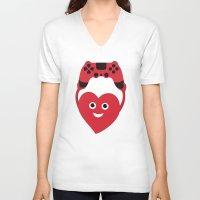 inside gaming V-neck T-shirts featuring Gaming Heart by Boriana Giormova