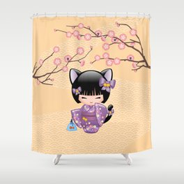 Japanese Neko Kokeshi Doll V2 Shower Curtain