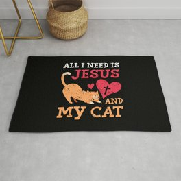 All I Need Is Jesus And My Cat Kitten Kitty Cat Christian Faith Rug