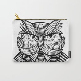 Hip Wise Owl Suit Woodcut Carry-All Pouch