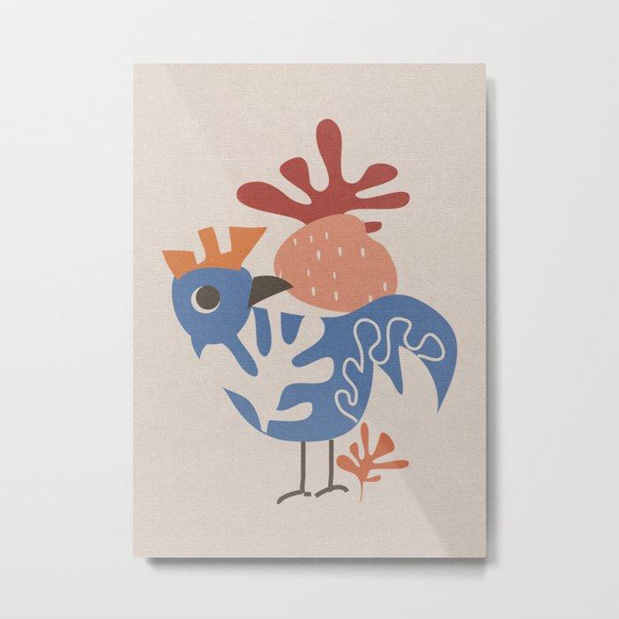 Wondering Rooster Metal Print