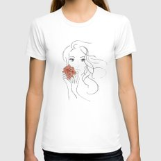 Beauty Blossom White SMALL Womens Fitted Tee