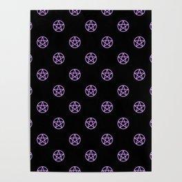 Purple Pentacle Pattern on Black Poster