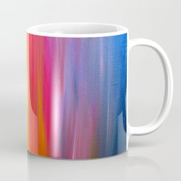 BRIGHT HORIZONS Bold Colorful Rainbow Pink Yellow Blue Abstract Painting Sunrise Sunset Stripes  Coffee Mug