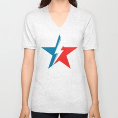 Bowie Star white Unisex V-Neck