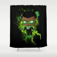 green lantern Shower Curtains featuring Chibi Green Lantern by artwaste