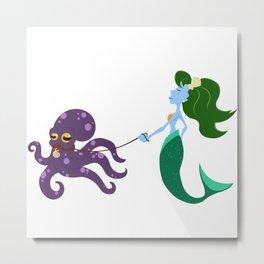 Mermaid and her Octopus Metal Print