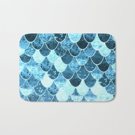 REALLY MERMAID SILVER BLUE Bath Mat