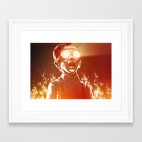 scary Framed Art Prints featuring FIREEE! by Dr. Lukas Brezak