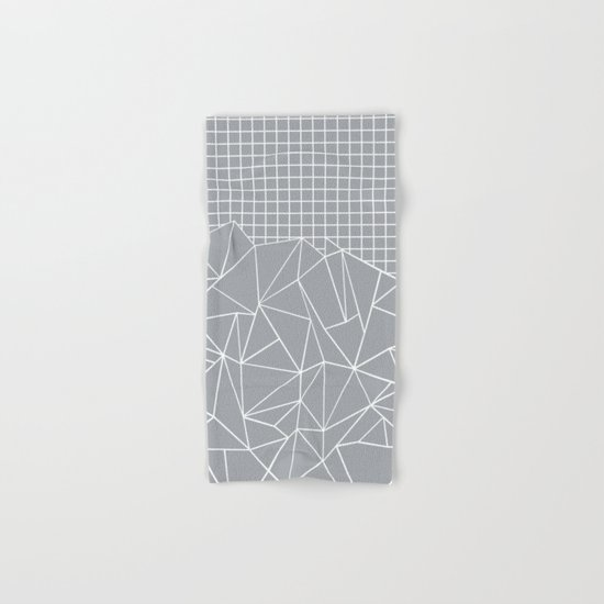 Abstract Outline Grid Grey Hand & Bath Towel