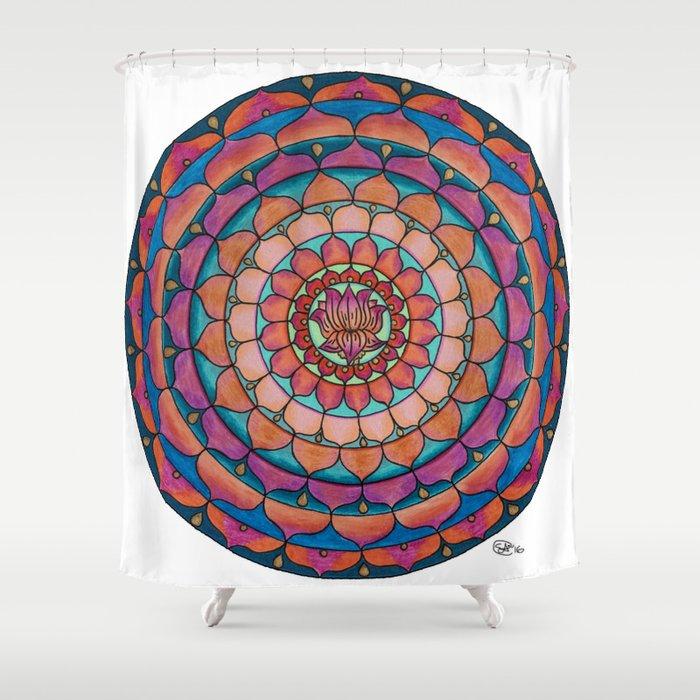 Brilliant Lotus Mandala Colored Pencil Illustration by Imaginarium Creative Studios Shower Curtain