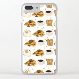 Breakfast Time Pattern on (Egg) White Clear iPhone Case