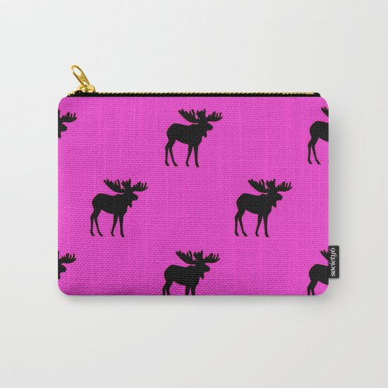 Bull Moose Silhouette - Black on Pink Carry-All Pouch