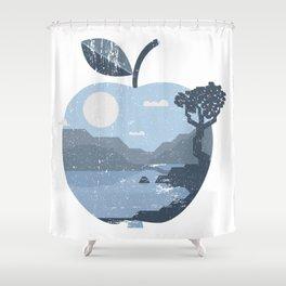Vintage Panorama Apple Shower Curtain