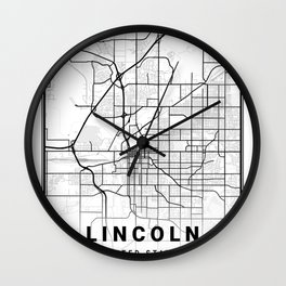 Lincoln Light City Map Wall Clock