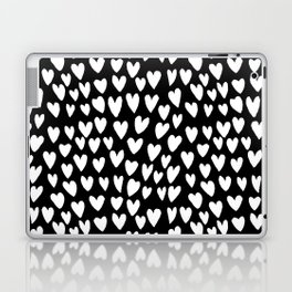 Linocut printmaking hearts pattern minimalist black and white heart gifts Laptop & iPad Skin