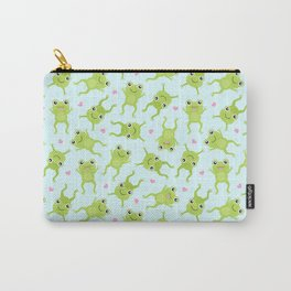 Kawaii Happy Frogs on Blue Carry-All Pouch