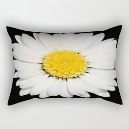 Top View of a White Daisy Isolated on Black Rectangular Pillow
