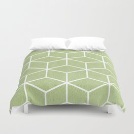 Lime Green and White - Geometric Textured Cube Design Duvet Cover