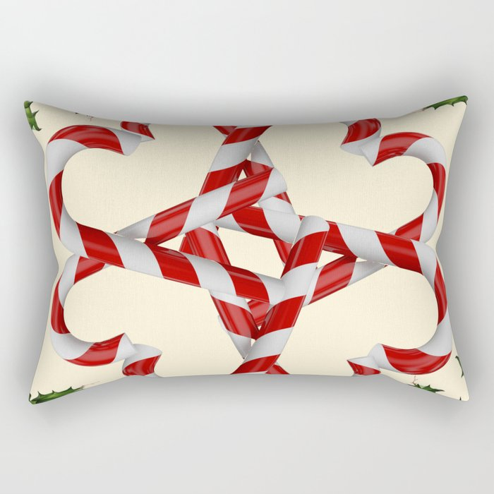 CREAMY YELLOW  RED-WHITE PINK  CHRISTMAS CANDY CANES Rectangular Pillow