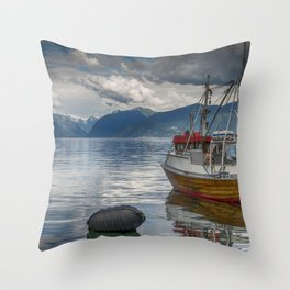fishing boat in the harbor of Vik at the sognefjord in Norway Throw Pillow