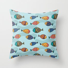 Colorful fish pattern Throw Pillow
