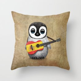 Baby Penguin Playing Spanish Flag Guitar Throw Pillow