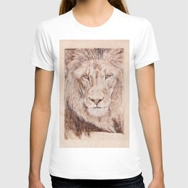 Lion Portrait - Drawing by Burning on Wood - Pyrography Art T-shirt