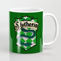 slytherin Mugs featuring Slytherin Crest by AriesNamarie