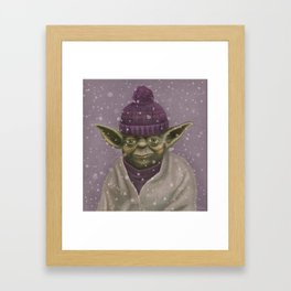 Christmas Yoda (fiolet) Framed Art Print