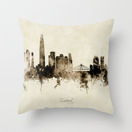 Seoul Skyline South Korea Throw Pillow