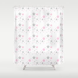 Pink Grey Gray Stars Shower Curtain