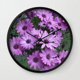 Lilac & Sage Color Purple Daisy Flowers Garden Wall Clock