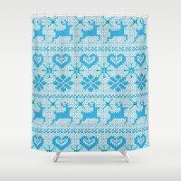 scandinavian Shower Curtains featuring Scandinavian Knitting by Vannina