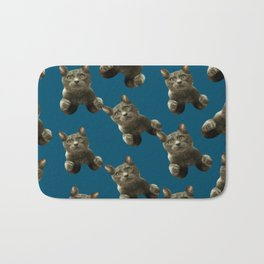 night sky skydiving funny flying cat Bath Mat