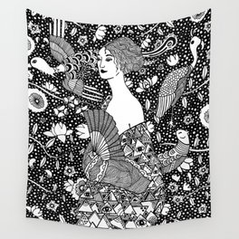 Gustav Klimt - Lady with fan Wall Tapestry