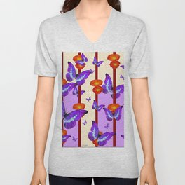 CATCHING PURPLE BUTTERFLIES IN  FLORAL ORANGE CAGE Unisex V-Neck