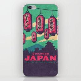 Japan Travel Tourism with Japanese Castle, Mt Fuji, Lanterns Retro Vintage - Green iPhone Skin