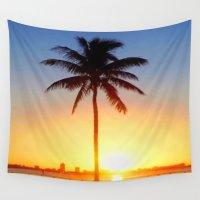 miami Wall Tapestries featuring Miami Sunrise by JT Digital Art