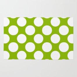 White & Apple Green Spring Polka Dot Pattern Rug